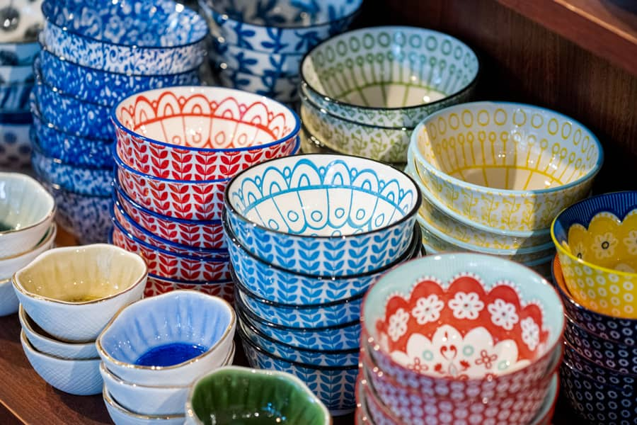 Brightly Colored Stoneware Bowls for serving or dipping